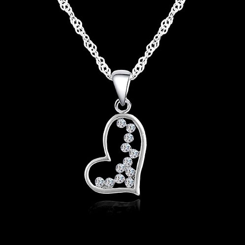 Dripping Crystal Heart Necklace