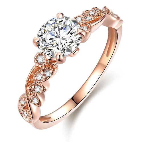Intricate Leaf Shoulders Rose Gold Ring