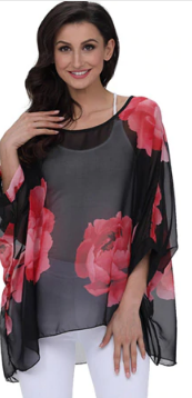 Batwing Sleeve Blouse - Black with Red R