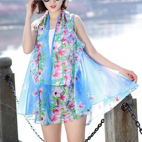 Blue with Pink Flower Border Scarf Vest