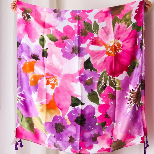 Pink and Purple Floral Large Scarf