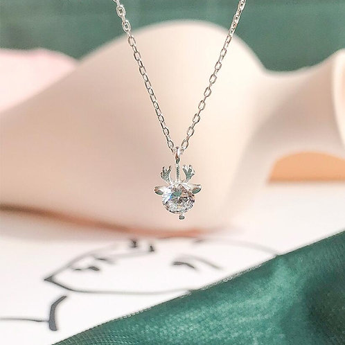 Sparkly White Deer Necklace
