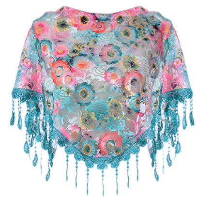 Green & Coral Floral Lace Triangle Scarf