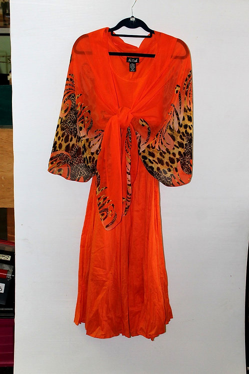 Orange with Animal Print Border Scarf Vest