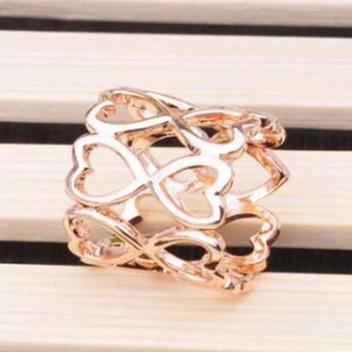 Rose Gold Heart Tube Scarf Ring