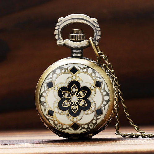 Ivory & Black Flower Small Pocket Watch