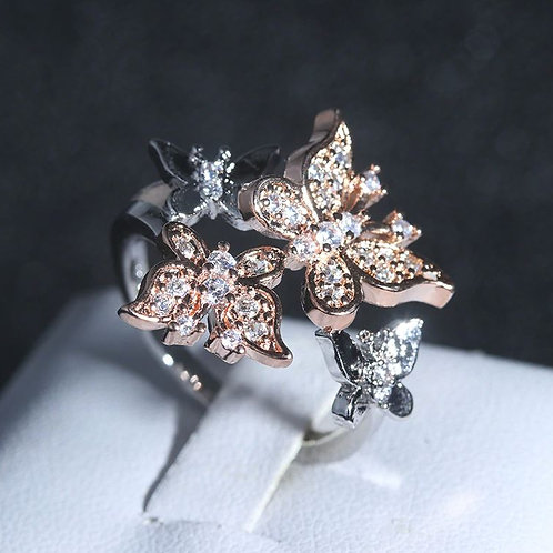 Rose Gold & Silver Butterfly Ring