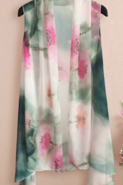 Pink and Green Watercolor Print Scarf Vest