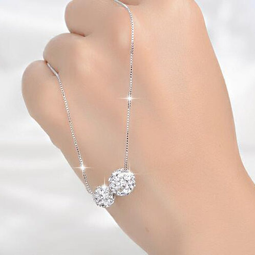 Side by Side Sparkle Balls Necklace