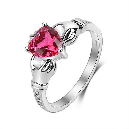Ruby Irish Claddagh Ring