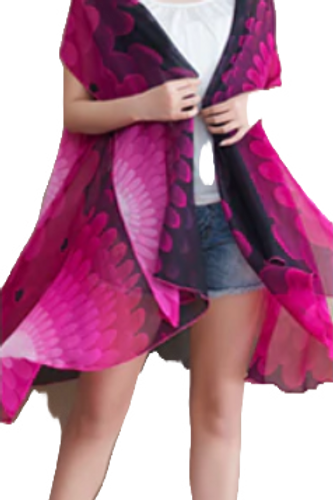 Flower Power - Pink Ombre and Black Scarf Vest