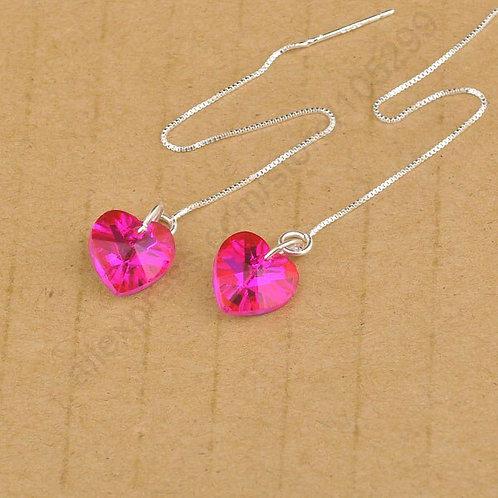 Long Chain Hot Pink Heart Earrings