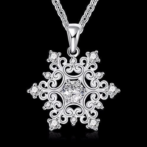 Elegant Scroll Snowflake Necklace