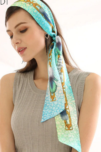 Chain & Feather Long Tie Scarf