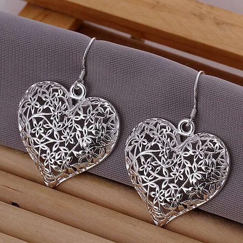 Flowers & Leaves Silver Heart Earrings