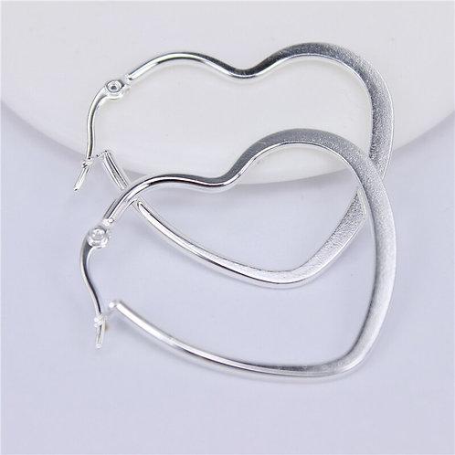 Flat Heart Stainless Steel Earrings