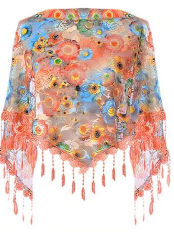 Orange & Blue Floral Lace Triangle Scarf
