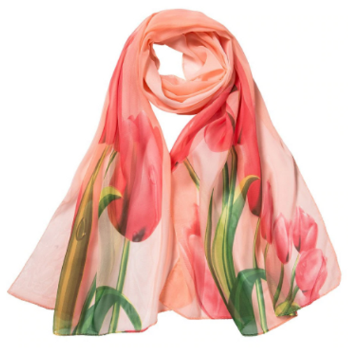 Spring Tulips Scarf - Peach & Coral