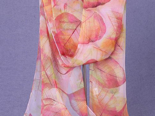Cascading Leaves Scarf - Pink & Yelow
