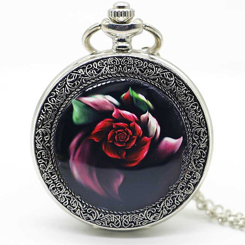 Red Rose Large Pocket Watch