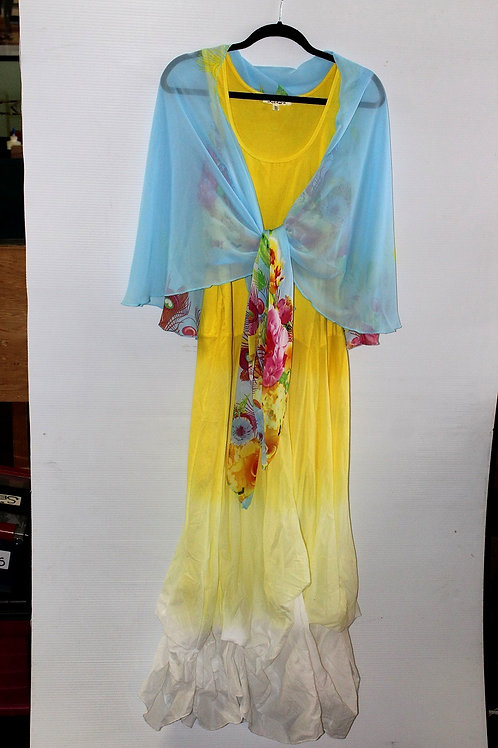 Blue - Peacock & Flowers Scarf Vest