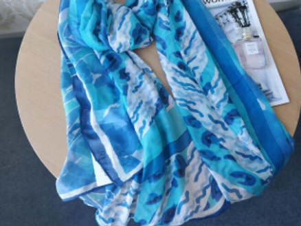 Turquoise & Blue Waves Scarf