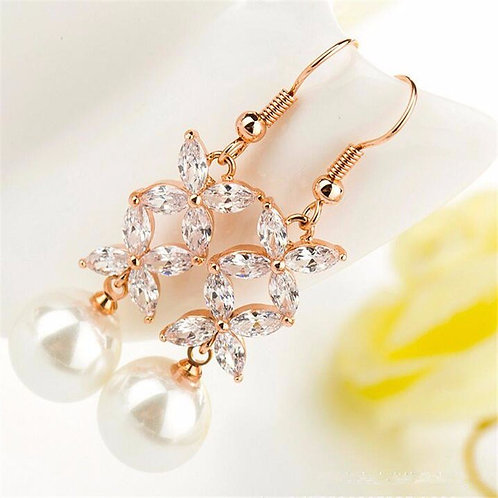Rose Gold Butterfly Pearl Drop