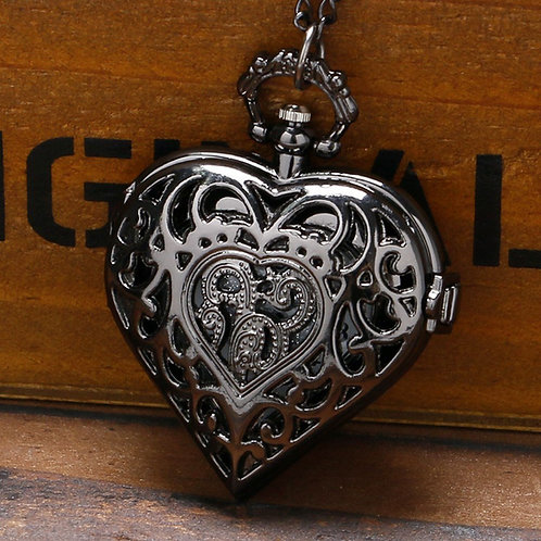 Black Scroll Heart Large Pocket Watch