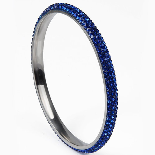 Crystal 3 Row Stainless Steel Bangle