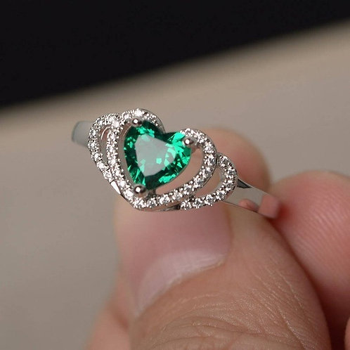 Green Triple Heart Ring