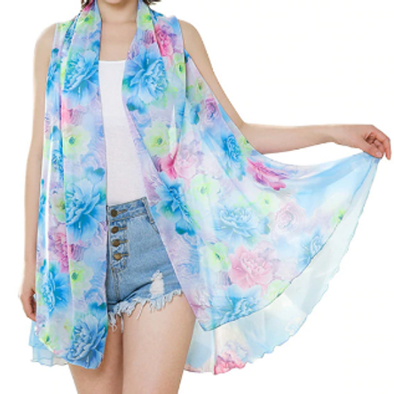 Blue with Pink & Green Flowers Scarf Vest
