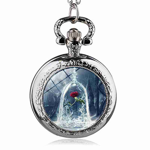 Beauty & the Beast Rose Small Pocket Watch