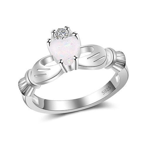 Fire Opal Heart Claddagh Ring