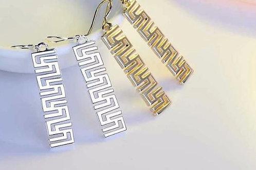 Greek Key Drop Earrings