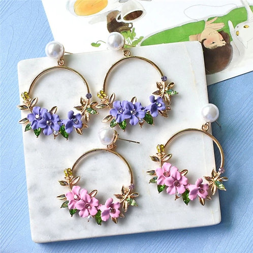 3D Flower Hoops Gold Plated