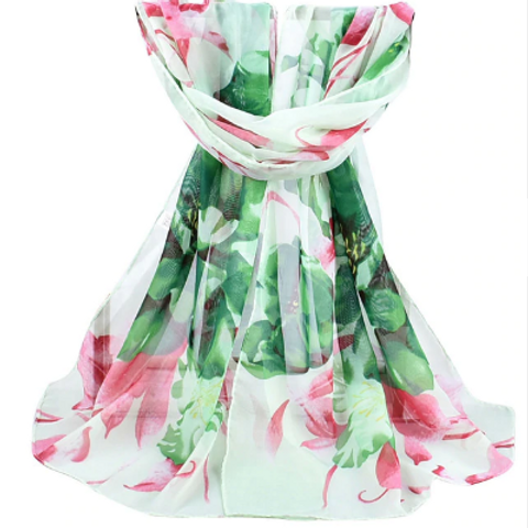 Light Green with Green & Pink Flowers