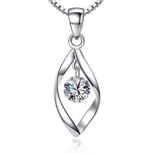 Swirl Sparkle Drop Necklace