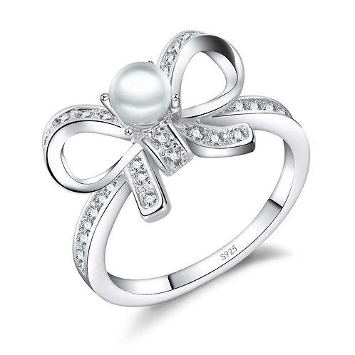 Pearl Ribbon Bow Ring