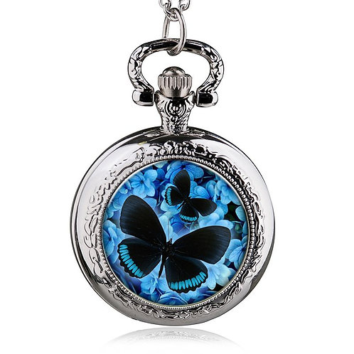 Blue Butterfly Small Pocket Watch