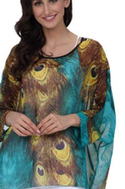 Peacock Batwing Sleeve Blouses