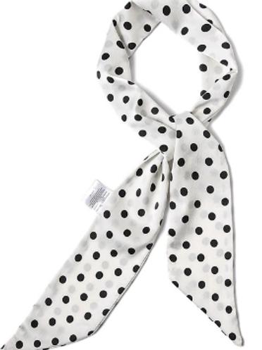 Long Skinny Polka Dots - White