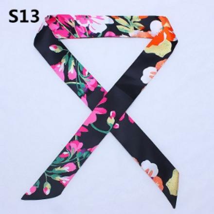 Black Floral Short Skinny Scarf