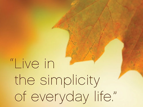 """Live in the simplicity of everyday life."""