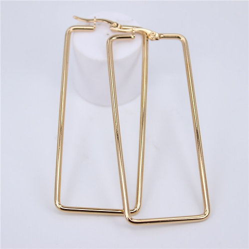 Long Gold Rectangle Stainless Steel Earrings