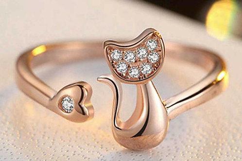 Cat Love Adjustable Ring