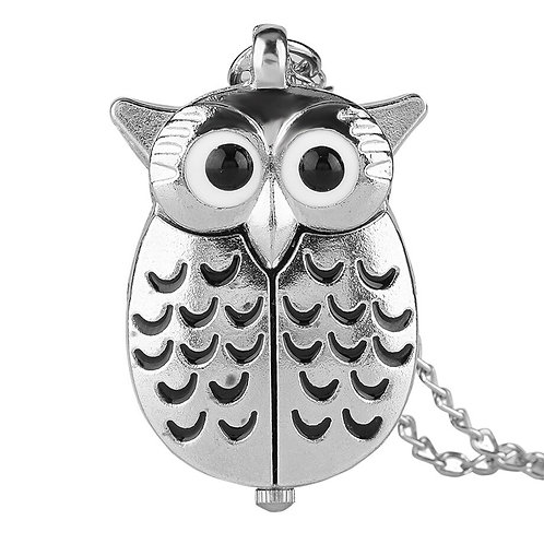 Black & Silver Owl Small Pocket Watch