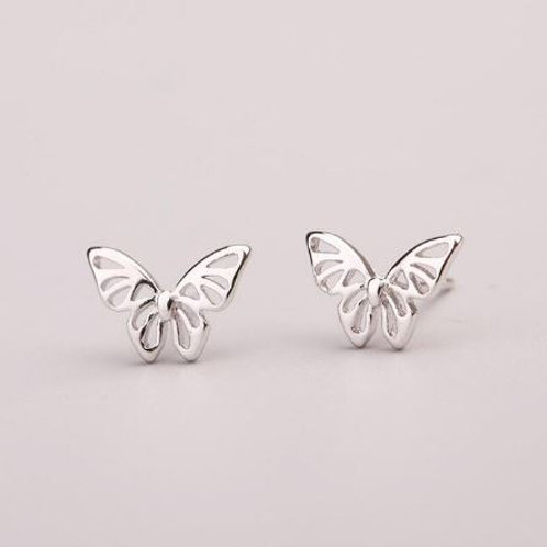 Cut-out Silver Butterfly Studs
