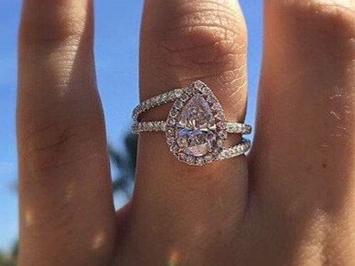 Double Band Tear Drop Ring