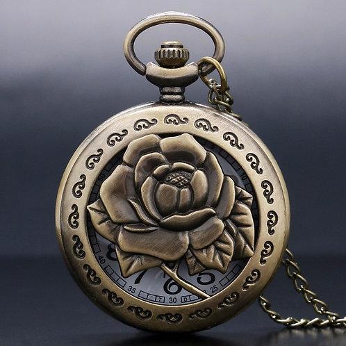 Antique Bronze Rose Large Pocket Watch