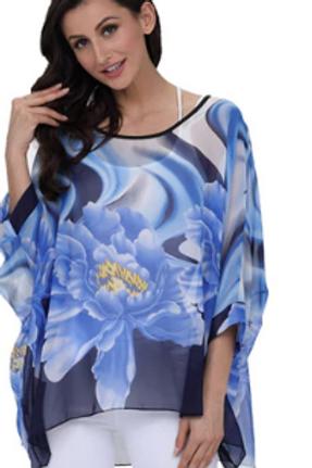 Blue Flower Batwing Sleeve Blouses